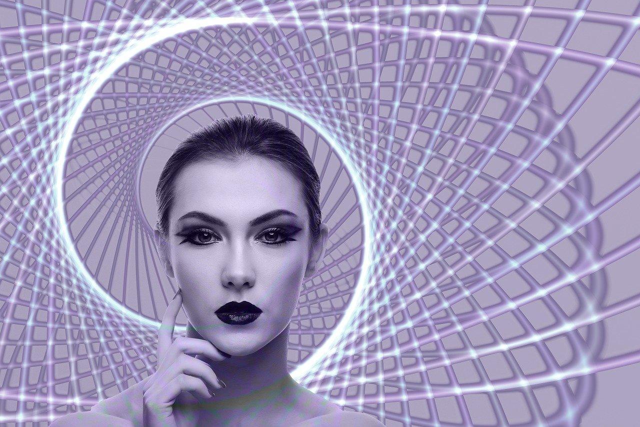 spiral, woman, face